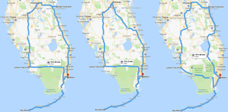 Routes on map of Florida